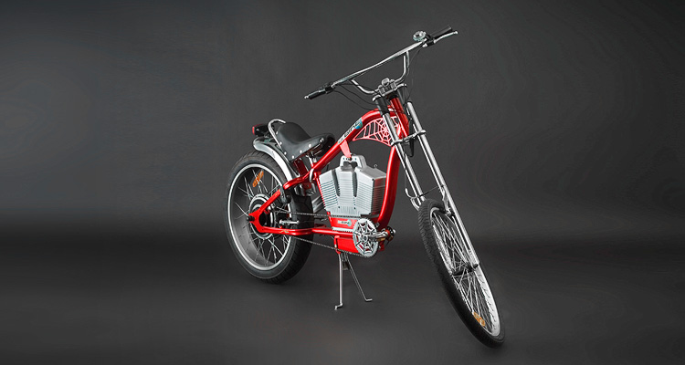 Front shot of red electric chopper bike
