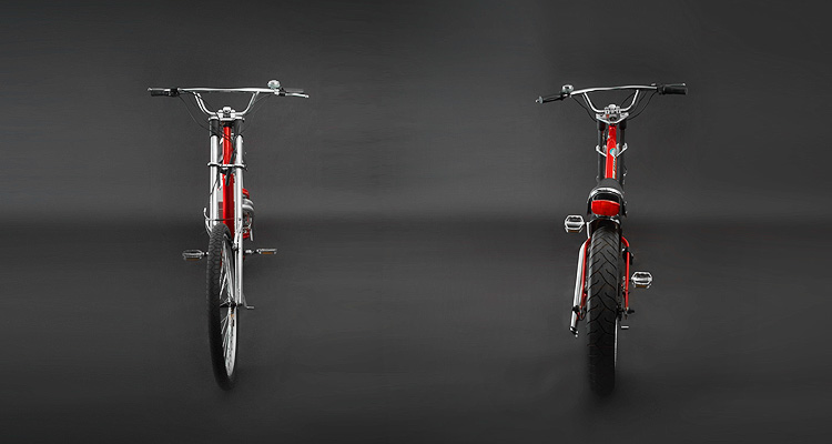 Front and back shots of red electric chopper bike