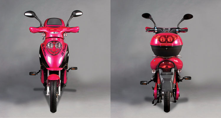 Front and back shots of pink electric bike