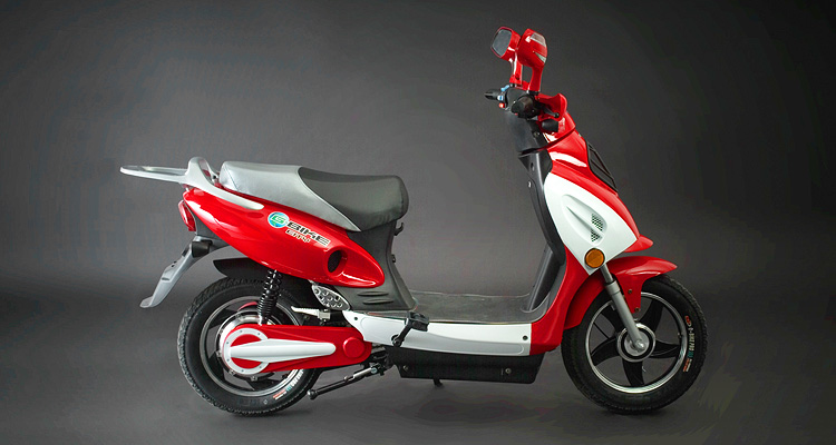 Side shot of red electric bike