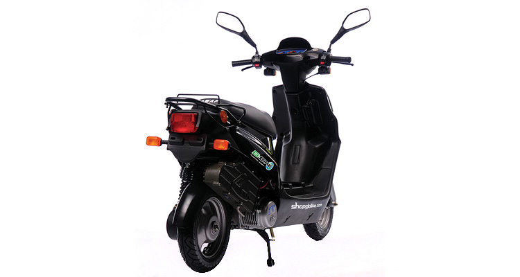 Rear shot of black commercial delivery scooter
