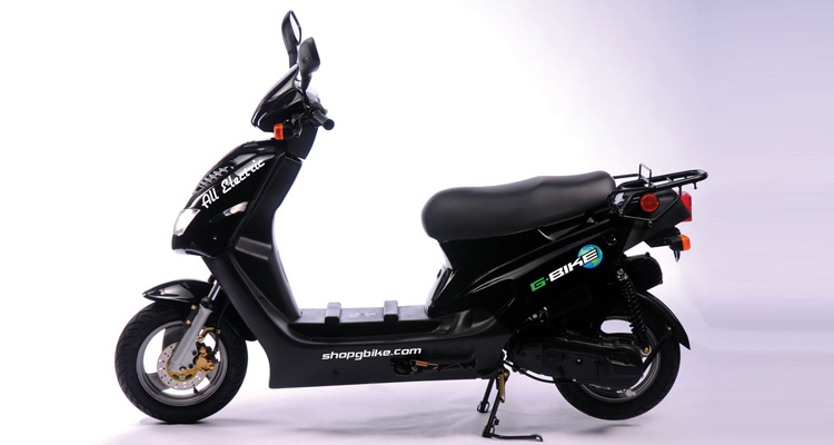 Side shot of black commercial delivery scooter