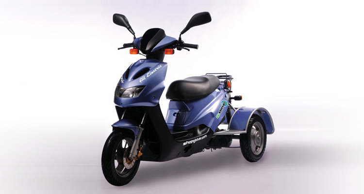 Front shot of blue commercial delivery trike